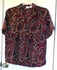 Liz Baker. Multi colored short sleeve, front button up top size 8