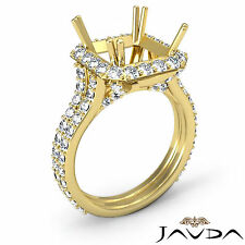 Diamond Engagement Halo Pave Ring Asscher Shape Semi Mount 1.35C 14k Yellow Gold