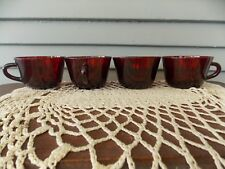Set of 4 Vintage Ruby Red Depression Glass Punch Cups Coffee Mugs