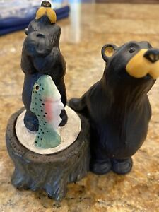 Bearfoots Jeff Fleming's Kritter Hollows Bears with Fish Tree Trunk Trinket 2000
