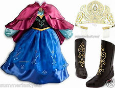 PRINCESS ANNA DISNEY STORE SIZE 9/10 TRAVEL COSTUME, TIARA, AND SIZE 2/3 BOOTS
