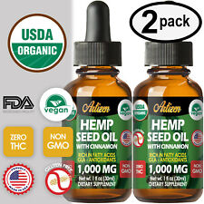 Cinnamon Hemp Oil Drops for Pain Relief, Stress, Sleep (PURE & ORGANIC) 1000mg