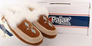 NEW Pajar Bianca Chestnut Beaded Fuzzy Leathery Slipper Shoes 37 Women's US 6.5