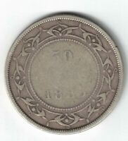 NEWFOUNDLAND 1885 50 CENTS QUEEN VICTORIA CANADIAN STERLING SILVER COIN