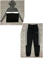 ADIDAS BOYS BLACK GREY 1/2 ZIP POLY TRACK PANTS HOODED TRACK SUIT TOP RRP £50 AD