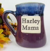 Large 20oz Harley Mama Purple w Blue Drip Glaze Stoneware Pottery Coffee Mug Cup