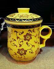 Chinese Porcellana Tè Tazza con coperchio e colino per infus. Giallo Floreale