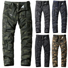 Mens Camo Cargo Work Combat Tactical Trousers Army Military Pants Pocket Bottoms