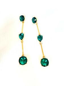 OSCAR DE LA RENTA Green Zircon Crystal Gold Plated Statement Necklace Earring