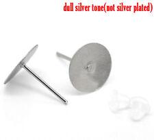 Ohrstecker silber für Cabochons 10mm mit Silikonstopper 20 Paar OZ37