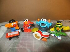 "RARE Lot of 4 Sesame Street Workshop 3"" Figures Hasbro - Band Ernie Bert Elmo"