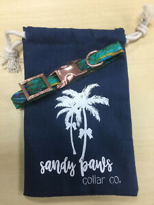 Peacock Teal Dog Collar - Fabric Dog Collar - Fashion Collar - Sandy Paws XXS