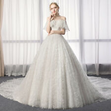 shivering lace simple wedding dress full-length ruffled collar bridal gown