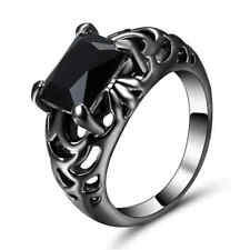 Black Sapphire Big Stone Wedding Ring Black Rhodium Plated Band Jewelry Size 6