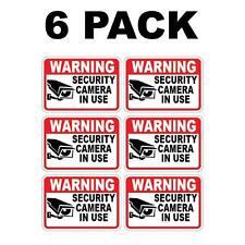 6 Pk SECURITY CAM IN USE Surveillance Burglar Alarm Decal Warning Vinyl Stickers