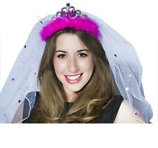 Bride to be veil Hen do accessories Hot pink feathers tiara veil Party Time !