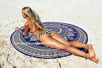 Indian Gold Ombre Mandala Round Hippie Tapestry Beach Picnic Throw Blue Blanket