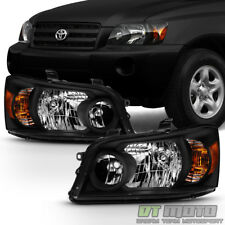 For [Black Housing] 2004 2005 2006 Toyota Highlander Headlights lamps Left+Right
