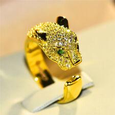 Leopard Animal Ring Luxury Yellow Gold Open Wedding Rings Women Adjustable