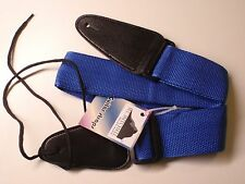 """NYLON AND LEATHER GUITAR STRAP BLUE LOT OF 10 NEW IN PACKAGE 31"""" - 53"""""""