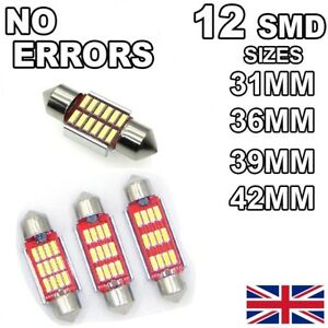 C5W No Error Car LED Bulbs 12 SMD Xenon White Lights Canbus Festoon Interior Hid