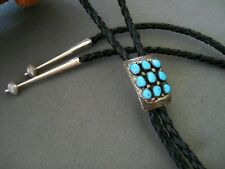 Southwestern Native American Indian Turquoise Cluster Sterling Silver Bolo Tie