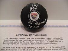 Aleksander Barkov Signed Florida Panther Puck COA Inscribed 1st NHL Goal 10-3-13