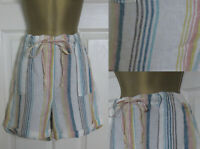 NEW M&S Ladies Linen Striped Holiday Shorts Elasticated Waist Ivory Blue 10-22