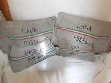 ~c 1970's Italian Canvas Mail Bag Flag Colors Small Rare Vintage Old Wonderful~