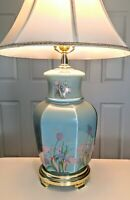 Vintage Oriental Chinese Ginger Jar glass Lamp/ Blue/ No shade/ 1980's