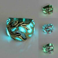 Luminous Titan Stahl im Dunkeln leuchten Ring Frauen Männer Ringe Schmuck E B2O9