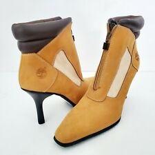 Timberland Nubuck Leather High Heel Zip Up Ankle Boots Size  7.5 M