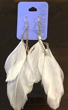 Claire's Claires Accessories Official Earrings Feather White Gold Chain £5 RRP