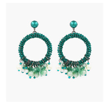 ZARA GREEN  LITTLE PEARLS VINTAGE DESIGN HOOP  DANGLE   EARRINGS