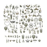 100pcs pendentifs de charmes mixtes en argent tibétain pour la fabrication de