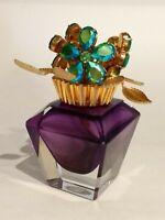 Vintage Irice Crystal Perfume Bottle West Germany ~ Jeweled Floral ~ Purple
