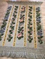 VINTAGE AUBUSSON STYLE HAND NEEDLEPOINT RUG, 6.5x4 FRENCH COUNTRY DESIGN, MINT