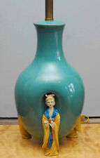 VINTAGE SIGNED MARCELLO FANTONI ITALY FOR MARBRO ASIAN FIGURAL LAMP CLAY POTTERY