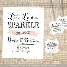50 Let Love Sparkle Tags and Sign Print   Sparkler Send Off Wedding Favors