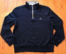 Nautica Mens Medium Navy Blue 3/4 Pullover Sweatshirt