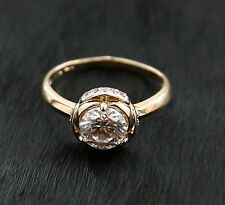 Russian Rose red Gold 585 14k Engagment Solitaire Ring Size J-15.5 gift boxed