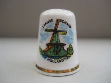 Vintage collectible thimble Zaanse Schans, Holland, Fine Bone China