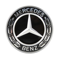 Fit Mercedes-Benz 57mm Black Wreath Flat Bonnet Badge Emblem C-Class W205 S205