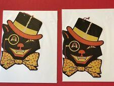 Vintage Beistle Die Cut Cat in Top Hat,Bowtie Halloween Decoration Lot Of 4