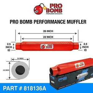 """2.5"""" inch 63mm 22""""PRO Bomb glass pack exhaust muffler silencer Cherry Red Colour"""