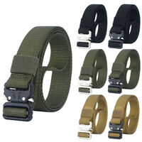 "1"" Skinny Tactical Nylon Belt Quick Release Metal Buckle Webbing Heavy Duty Belt"