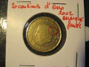 20 centimes d'Euro fauté année 2002 Belgique  (surplus de métal crane)