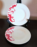 Ciroa Red Scroll Porcelain Salad Plates Red Scrolls on White x2