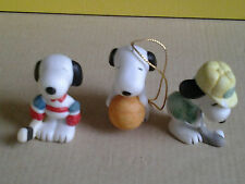 SNOOPY WILLITTS PORCELAIN SPORTS FIGURES SOCCER & TENNIS + BASKETBALL ORNAMENT