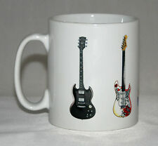 Electric Guitar Mug. 5 Famous rock guitars. SG, Fender, Epiphone, Gibson